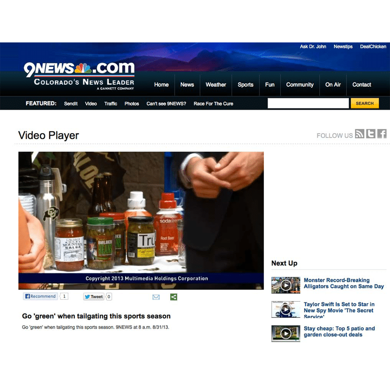 Video product shot of Bolder Beans in 9News Tailgaiting segment