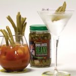 Product shot of Bolder Beans used as a martini garnish or Bloody Mary garnish