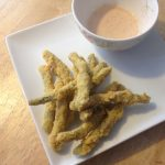 Pickled green beans battered and deep fried