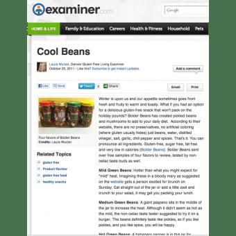 Bolder Beans review in Examiner.com October 2011
