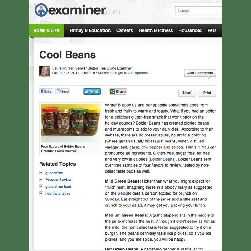 Screen shot of Bolder Beans review in Examiner.com October 2011