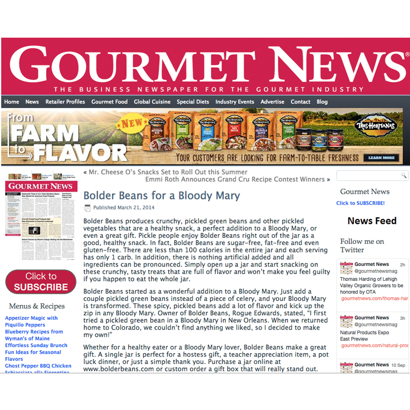 Bolder Beans article in Gourmet News 2014