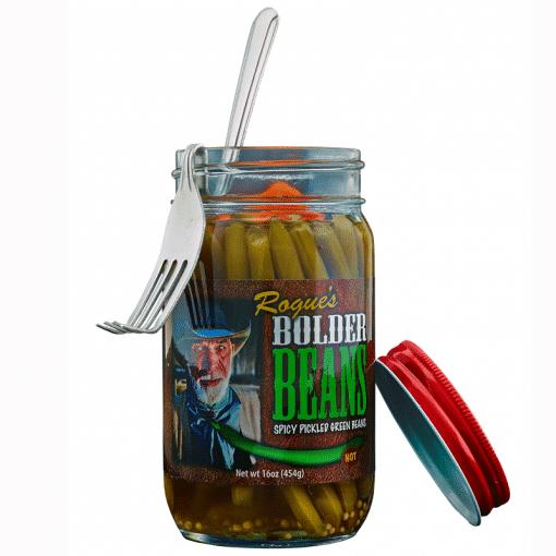 Photo of Bolder Bean Fork hanging on a jar of Hot Bolder Beans