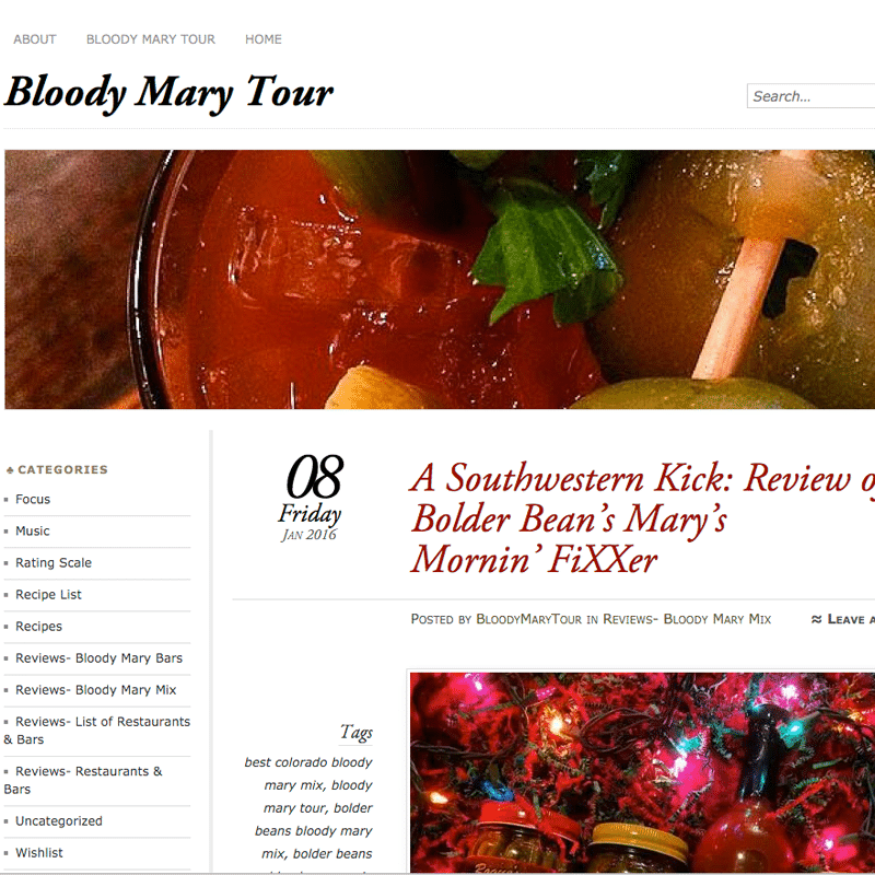 Web screen shot of BloodyMaryTour.org Review