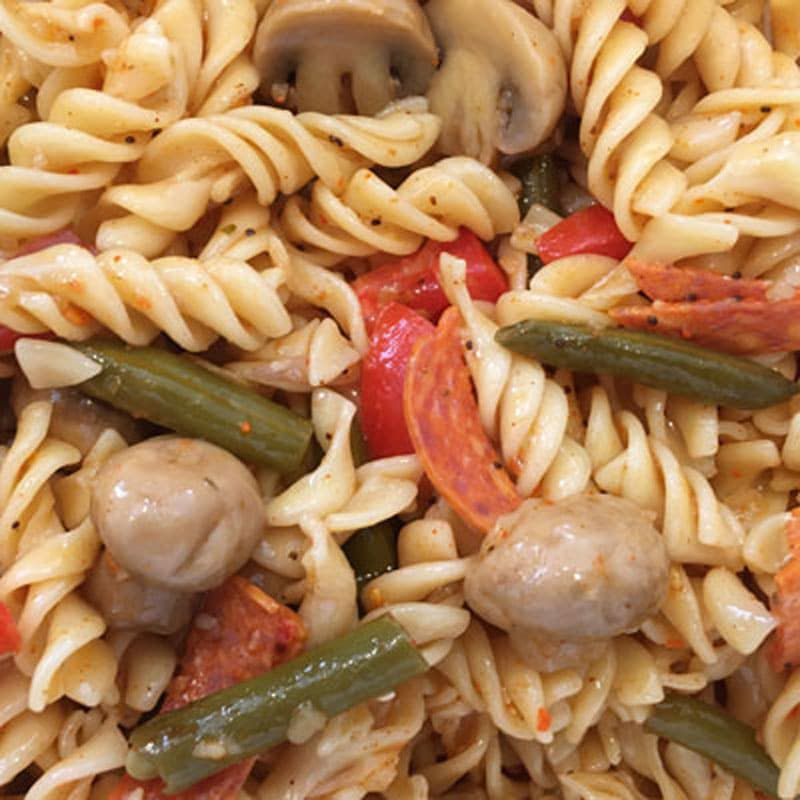 Photo close up of Bolder Beans pasta salad with Bolder Mushrooms