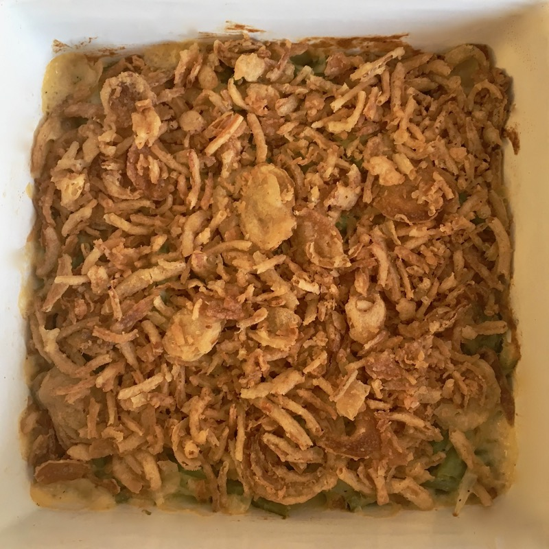 Photo of green bean casserole with pickled green beans