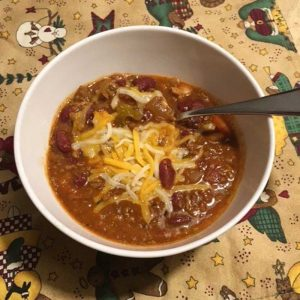 Bowl of chili made with bloody mary mix