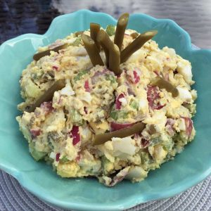Potato salad recipe made with pickled green beans and pickle brine