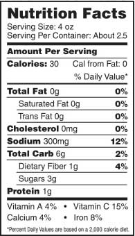 Image of nutrition facts for Mary's Mornin' FiXXer 10oz