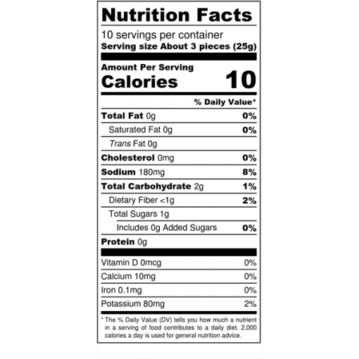 Image of nutrition facts for Bolder Carrots