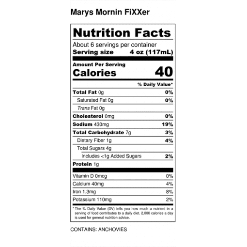 Image of nutrition facts for Mary's Mornin' FiXXer 750ml