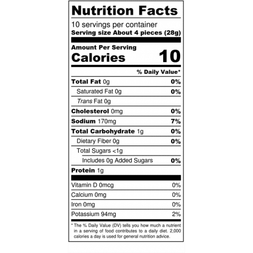 Image of nutrition facts for Bolder Mushrooms