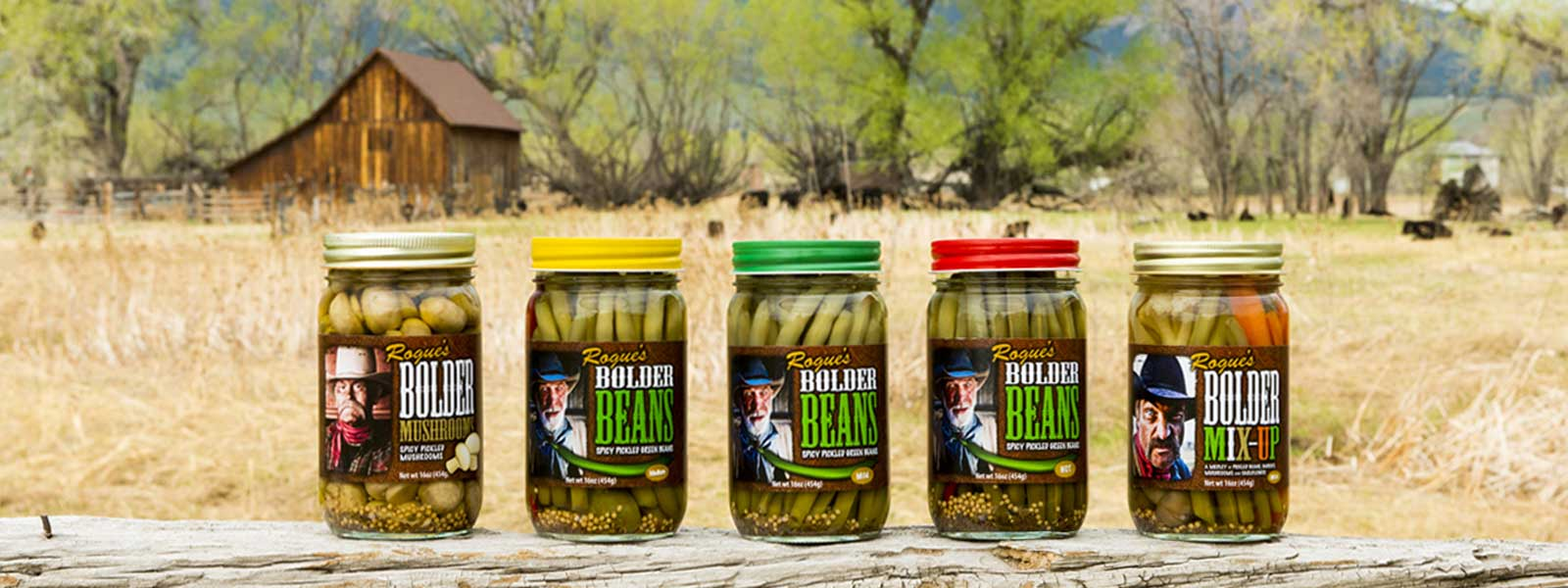Photo of Bolder Beans product family on a split fence rail