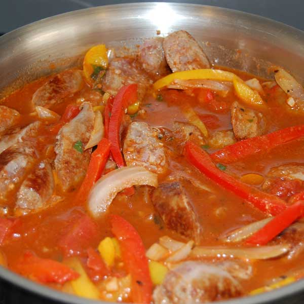 Photo of sausage and peppers cooking with Mary's Mornin' FiXXer